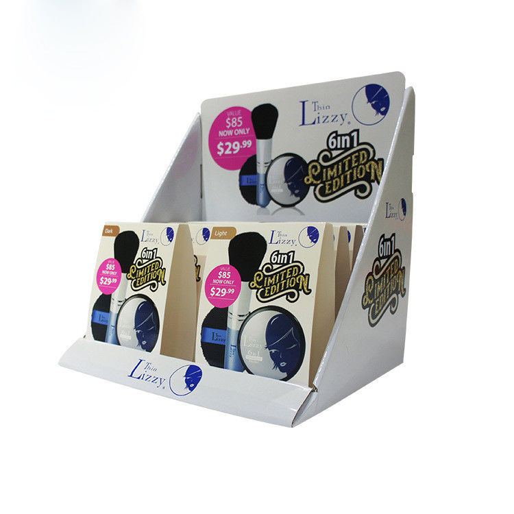 Cardboard Super Market Corrugated Display Boxes Pantone Color For Cosmetic
